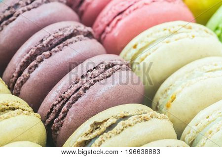 Sweet and colourful french macaroons or macaron Dessert.