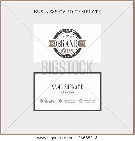 Double-sided Vintage Business Card Template With Retro Typograph