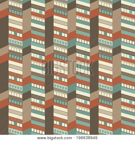 Architectural 3d houses in warm colors seamless pattern vector illustration