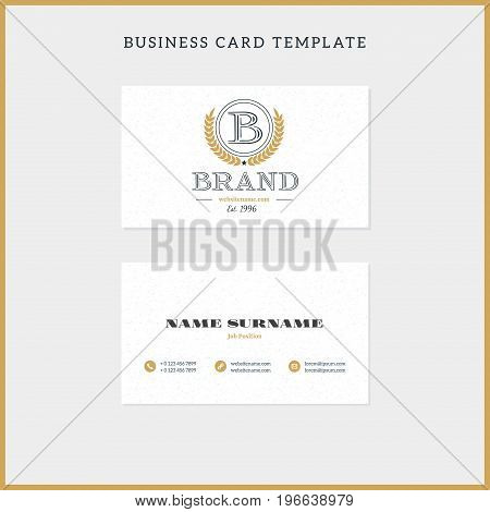 Double-sided Vintage Business Card Template With Retro Typographic Logo And Textured Background. Vec