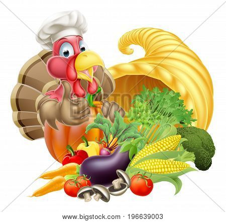 Thanksgiving golden horn of plenty cornucopia full of vegetables and fruit produce with cartoon turkey bird wearing a chef hat
