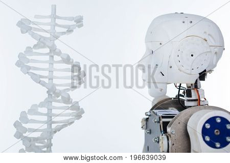 New humans. White complex progressive mechanism with artificial intelligence standing isolated on white background and facing the model of human genome