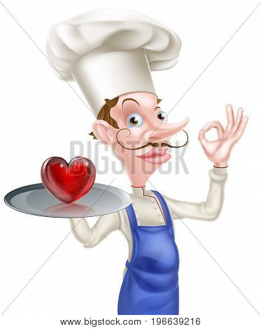 An illustration of a cartoon chef doing a perfect or okay sign and holding a tray with a heart icon on it