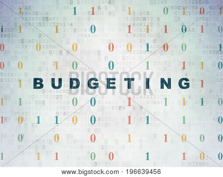 Finance concept: Painted blue text Budgeting on Digital Data Paper background with Binary Code
