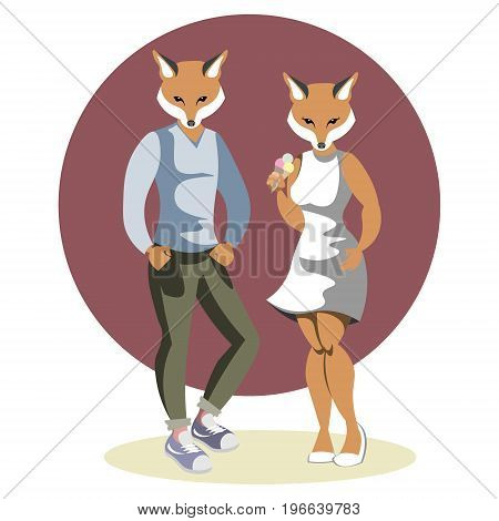 Couple anthropomorphic foxes cartoon vector illustration on whita background