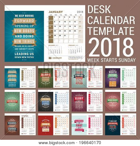 Desk Calendar Template for 2018 Year. Template with Motivational Quote. Set of 12 Months. Week starts on Sunday. Vector Illustration