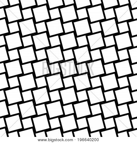 Black and white seamless geometric square grid pattern - vector background design from angular squares