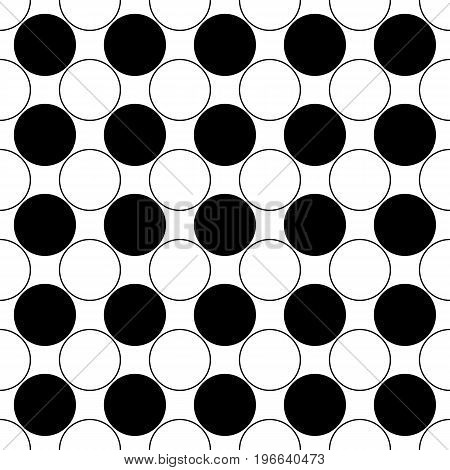 Repeating abstract monochrome circle pattern - simple vector background design from black and white dots