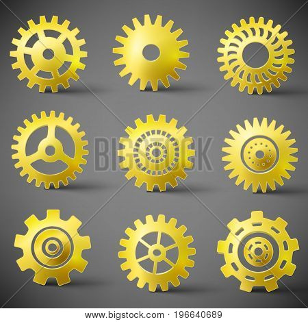 Golden gears realistic icons set flat isolated vector illustration