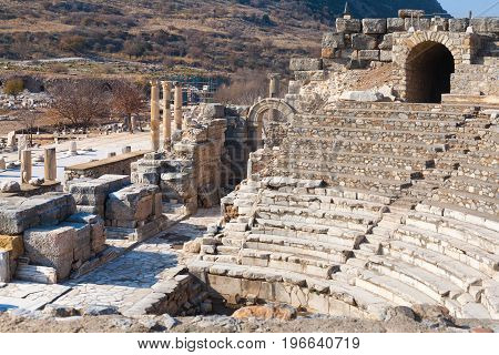 Roman Amphitheater Ruins With Stone Columns Row In Ephesus Archaeological Site In Turkey