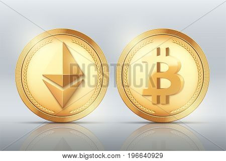 Cryptocurrency Gold coins Bitcoin and Ethereum set. Vector Illustration isolated on presentation background with reflect.