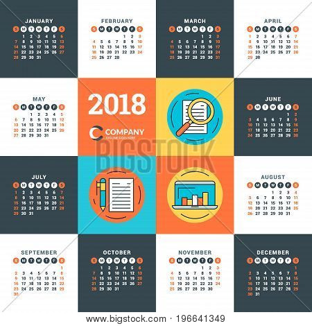 Calendar For 2018 Year. Vector Design Template. Week Starts On Sunday. Flat Style Color Vector Illus
