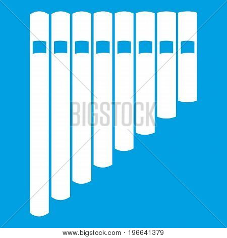 Pan flute icon white isolated on blue background vector illustration