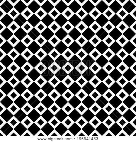 Seamless abstract black and white square pattern - halftone vector background graphic from diagonal squares