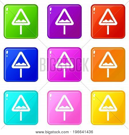 Uneven triangular road sign icons of 9 color set isolated vector illustration