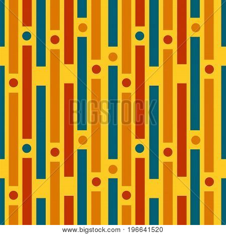 Colored strips and circles. Geometric seamless pattern