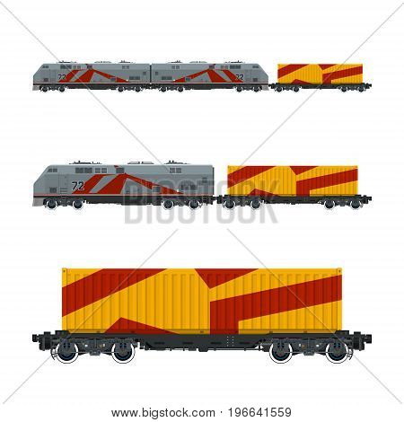 Gray Locomotive with Orange Cargo Container on Railroad Platform Train Railway and Container Transport Vector Illustration