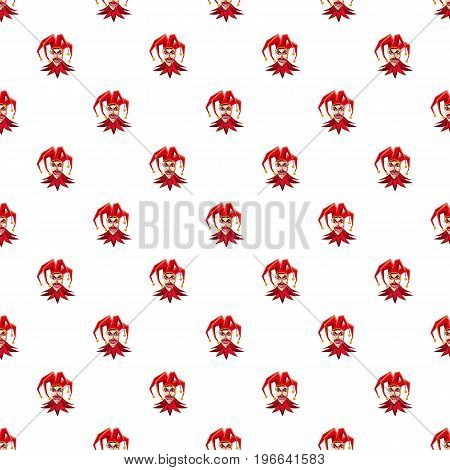 Jester in red hat pattern seamless repeat in cartoon style vector illustration