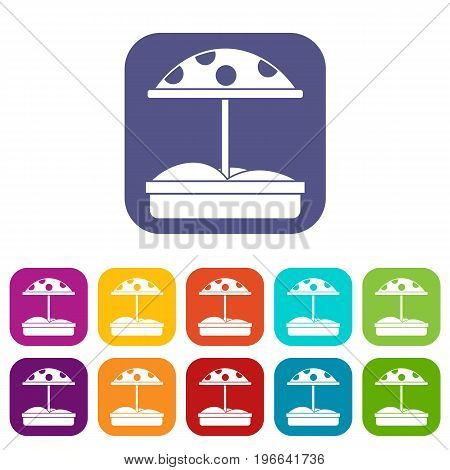 Sandbox with dotted umbrella icons set vector illustration in flat style in colors red, blue, green, and other
