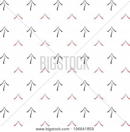 Black and red arrows point upwards. Seamless geometric pattern