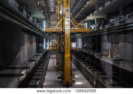 PATTAYA, THAILAND - 20 JUL - Automatic underground car parking lots interior, at Pattaya, Thailand in July 20, 2017