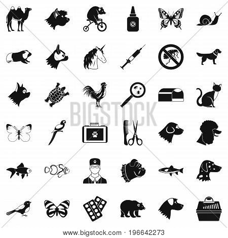 Veterinarian icons set. Simple style of 36 veterinarian vector icons for web isolated on white background