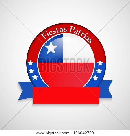 illustration of stamp in Chile flag background with Fiestas Patrias text on the occasion of Chilean Fiestas Patrias