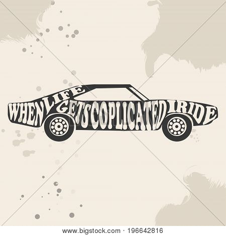 Vintage American Muscle Car Vector Silhouette. old school car. Muscle car. Print for poster or t-shirt.