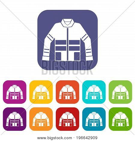 Firefighter jacket icons set vector illustration in flat style in colors red, blue, green, and other
