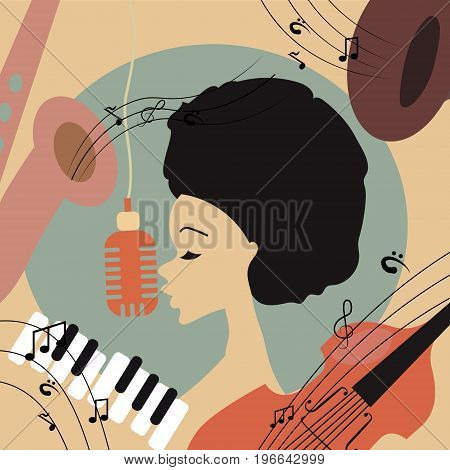 Vector illustration of an afro american jazz singer