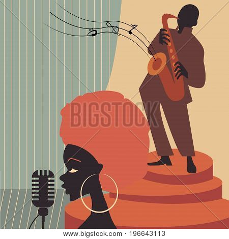 Jazz music players with trumpet, saxophone and piano doodles poster