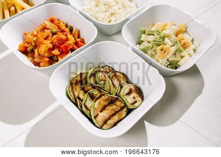 Mixed Rice, Potatoes, Zucchini Grill, Colorful Pasta, Pepper On The Grill