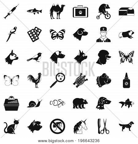 Animal medicine icons set. Simple style of 36 animal medicine vector icons for web isolated on white background