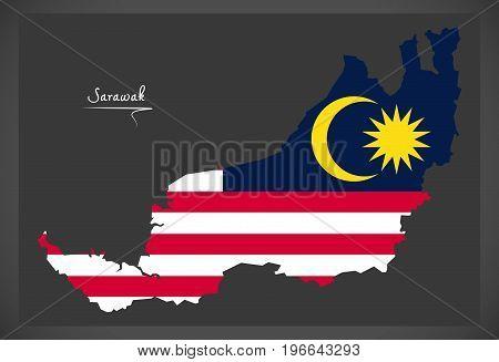 Sarawak Malaysia Map With Malaysian National Flag Illustration