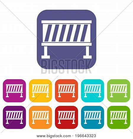 Traffic barrier icons set vector illustration in flat style in colors red, blue, green, and other