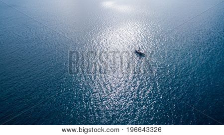 Aerial photograph of ship floating in the sea
