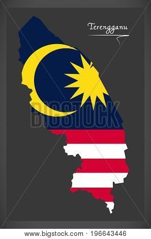 Terengganu Malaysia Map With Malaysian National Flag Illustration