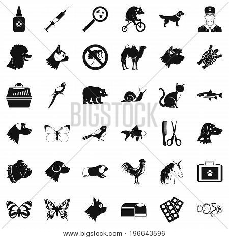 Help for animal icons set. Simple style of 36 help for animal vector icons for web isolated on white background