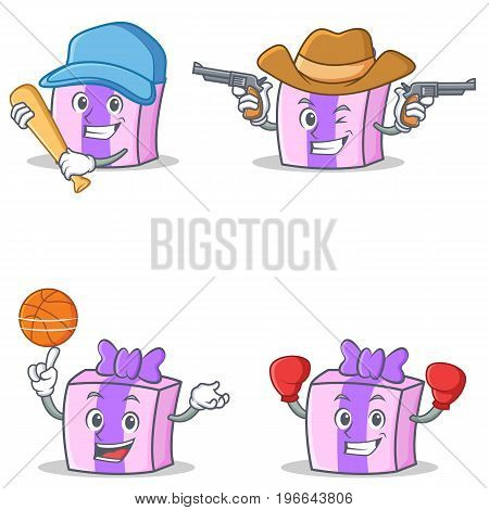 Set of gift character with baseball basketball cowboy boxing vector art