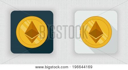 Light and dark crypto currency icon Ethereum on a transparent background
