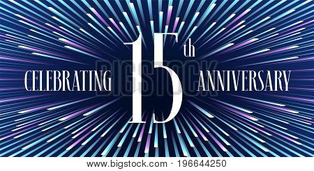 15 years anniversary vector icon, banner. Graphic design element or logo with abstract background for 15th anniversary