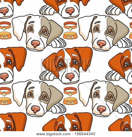Vector cartoon dog on white. Seamless pattern can be used for wallpaper, pattern fills, web page background, surface textures.