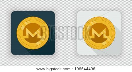 Light and dark crypto currency icon Monero on a transparent background