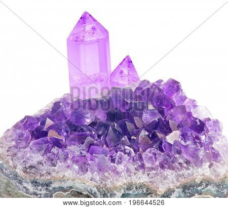 macro photo of lilac amethyst isolated on white background