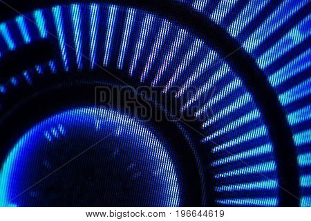Light emitting diodes nacro for LED display. Digital LED screen blue background
