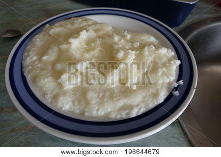 Plate Of White Semolina Porridge