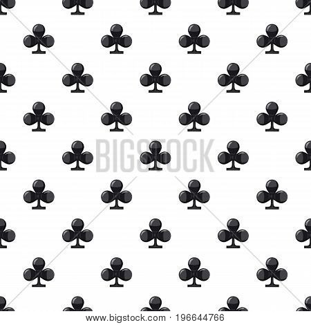 Club suit playing card pattern seamless repeat in cartoon style vector illustration