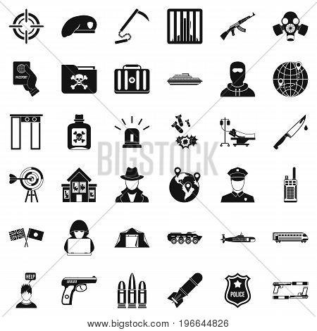 Antiterrorist help icons set. Simple style of 36 antiterrorist help vector icons for web isolated on white background