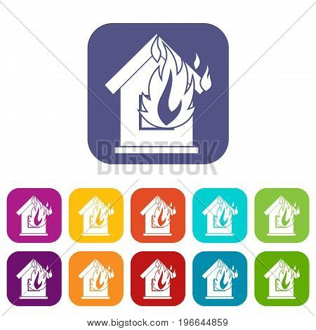 Preventing fire icons set vector illustration in flat style in colors red, blue, green, and other