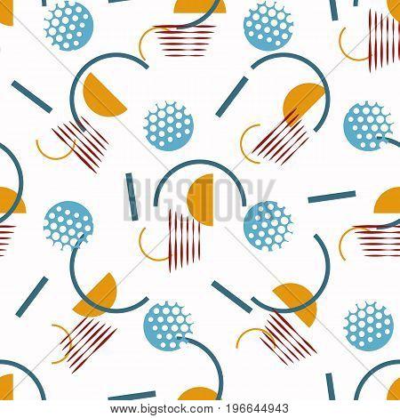 Blue circle orange semicircle and lines on white background. Seamless geometric pattern